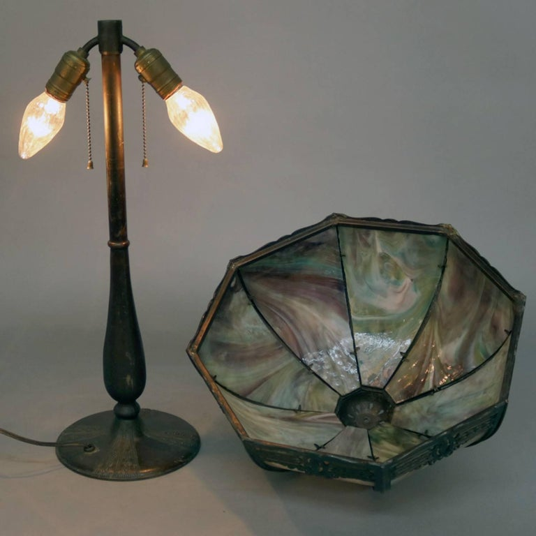 Arts and Crafts Anitque Arts & Crafts Bradley & Hubbard School Slag Glass Table Lamp, c1920 For Sale