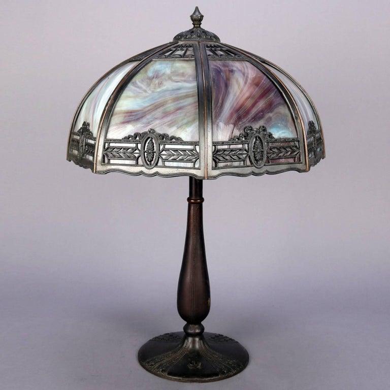American Anitque Arts & Crafts Bradley & Hubbard School Slag Glass Table Lamp, c1920 For Sale