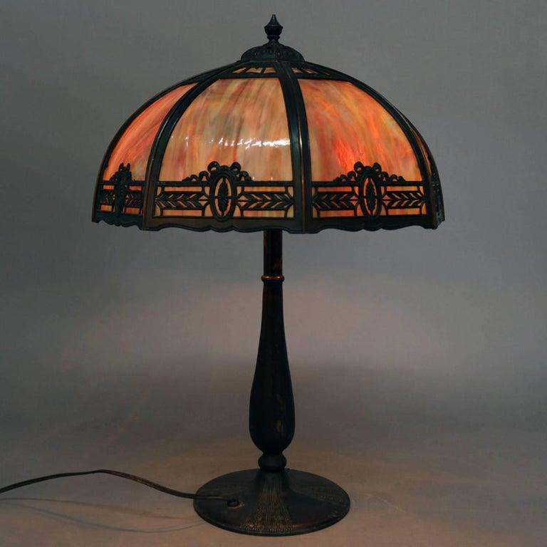 Cast Anitque Arts & Crafts Bradley & Hubbard School Slag Glass Table Lamp, c1920 For Sale