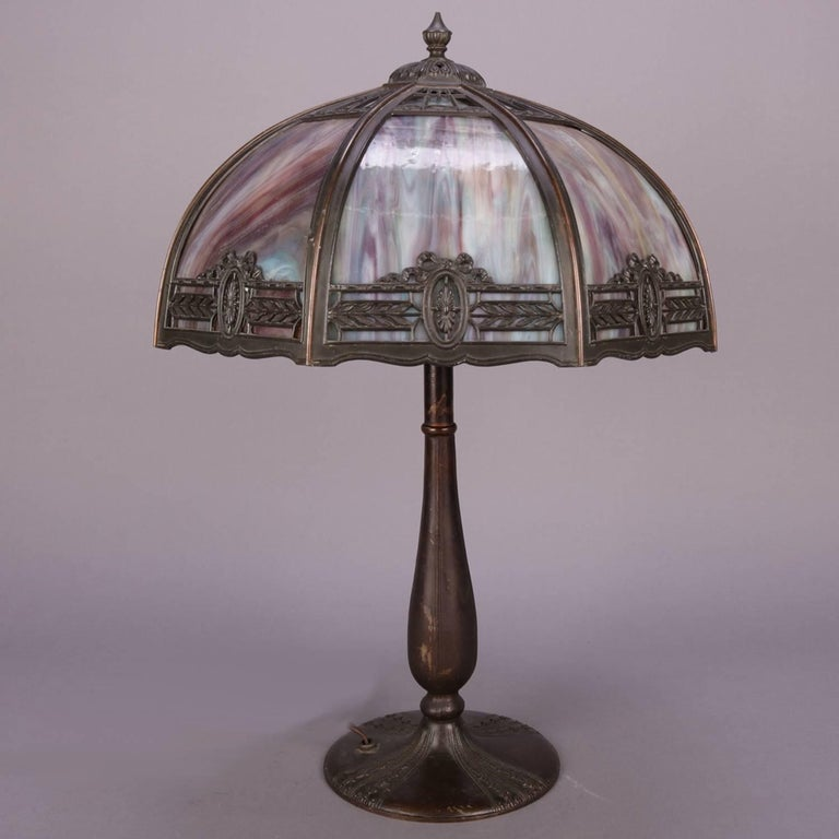 Anitque Arts & Crafts Bradley & Hubbard School Slag Glass Table Lamp, c1920 In Good Condition For Sale In Big Flats, NY