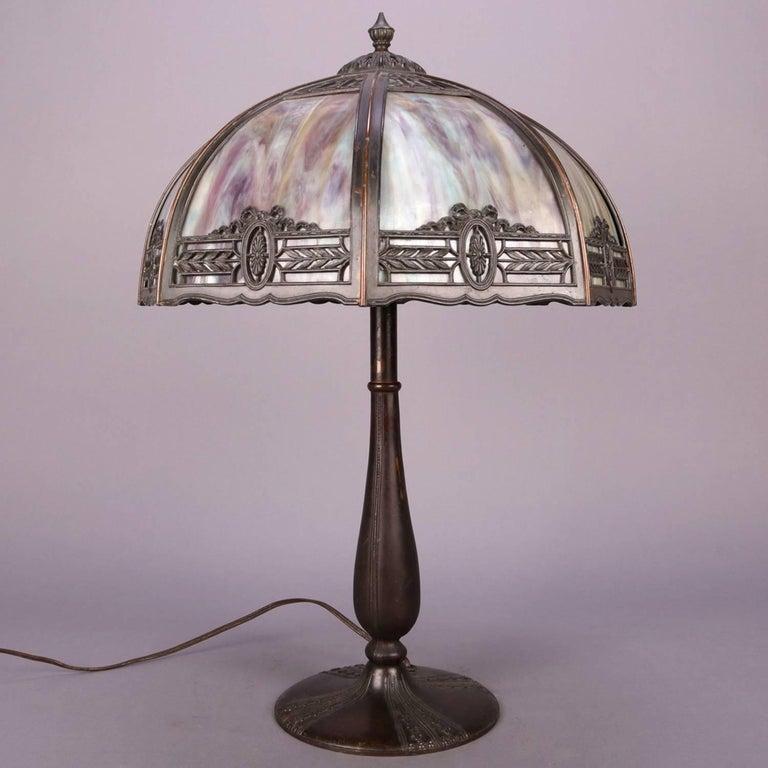 20th Century Anitque Arts & Crafts Bradley & Hubbard School Slag Glass Table Lamp, c1920 For Sale