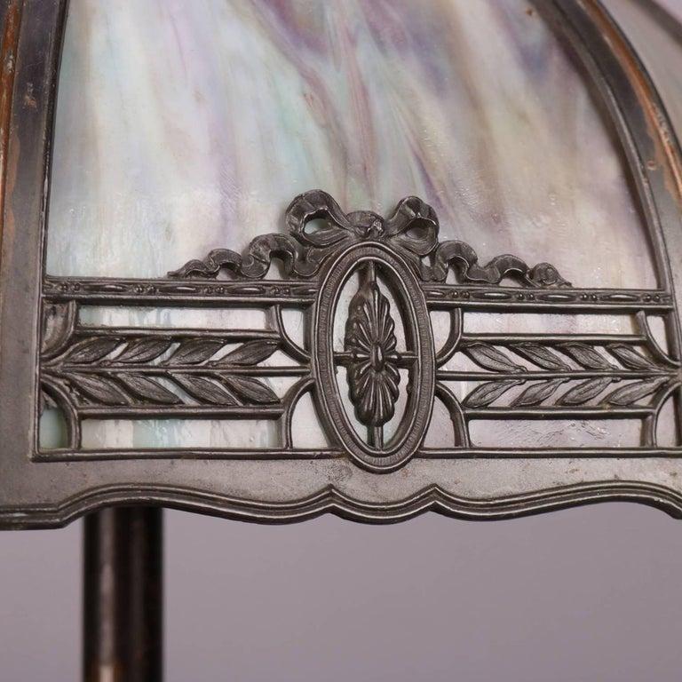 Anitque Arts & Crafts Bradley & Hubbard School Slag Glass Table Lamp, c1920 For Sale 1