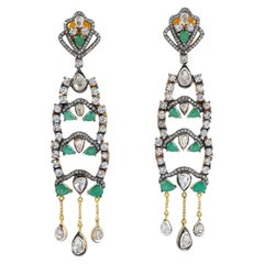 Anitque Style Emerald Diamond Sapphire Earrings