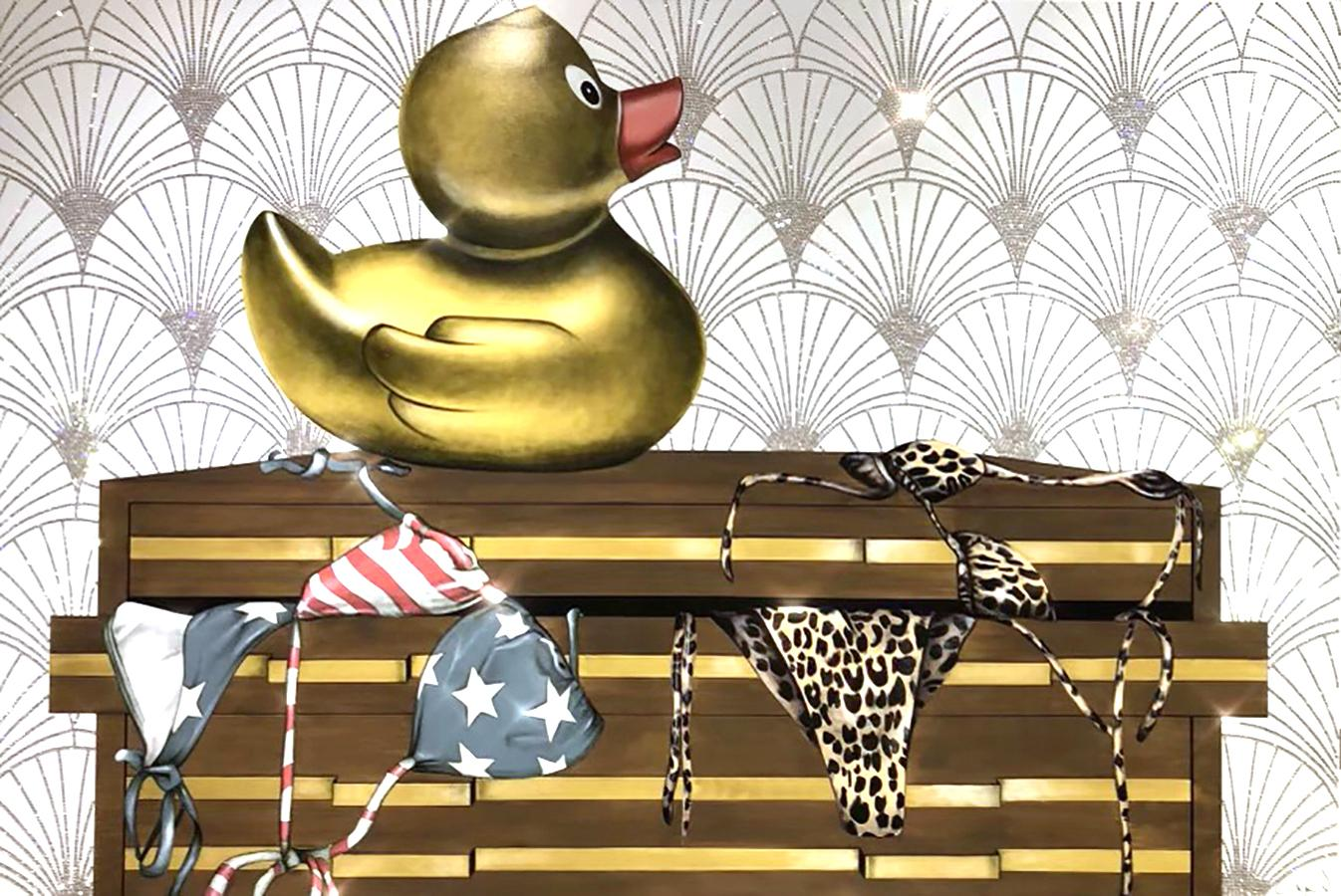 What The Duck_2021_Anja Van Herle_Acrylic/Swarovski Crystals/Panel (Disco Duck)