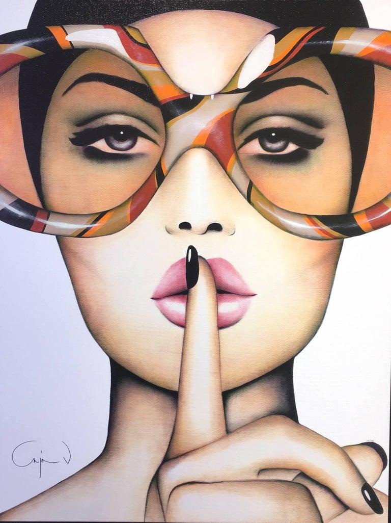 Anja Van Herle, Orange Hush - Painting by Anja Van Herle