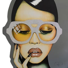 """Call me Mellow Yellow"" -pop art, swarovski crystals, fashion, oversized eyewear"