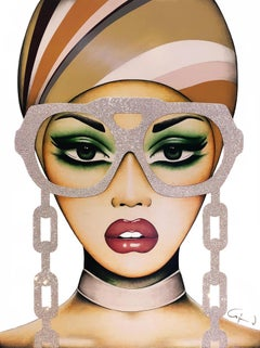 """Chain on You"" - pop art, swarovski crystals, glasses, oversized eyewear, chain"
