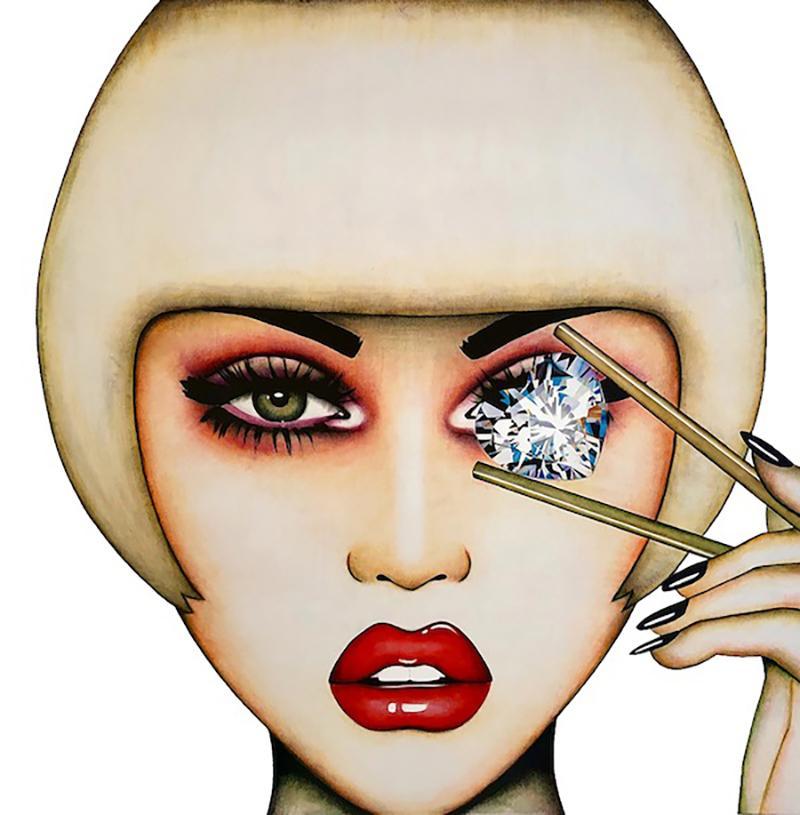 """Diamond Dreams"" - pop art, swarovski crystals, fashion, oversized eyewear"