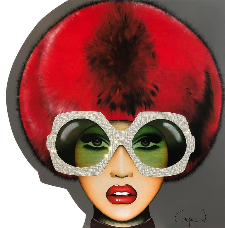 """Faux Fur for Her"" - pop art, swarovski crystals, glasses, oversized eyewear - Mixed Media Art by Anja Van Herle"