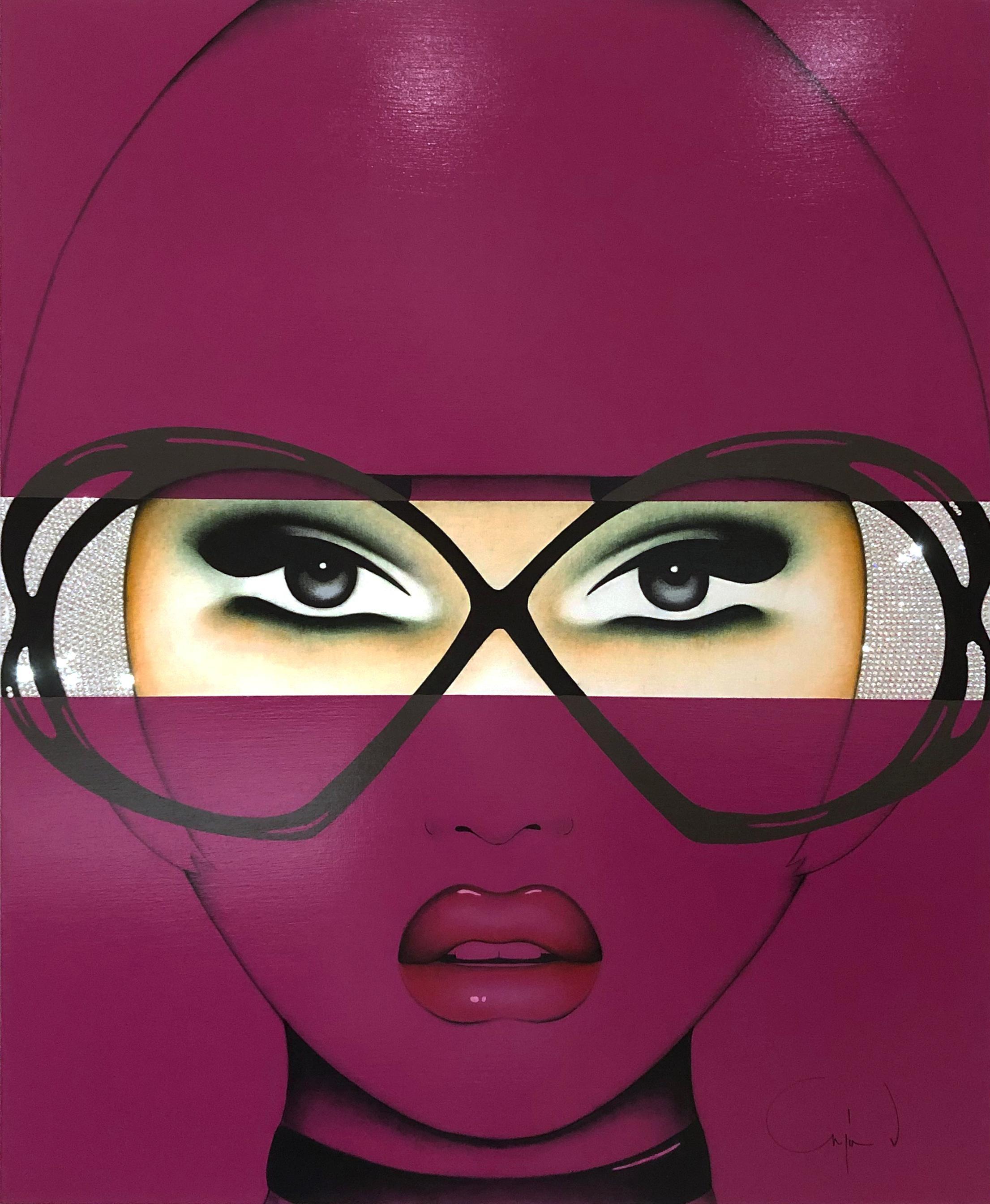 For Your Eyes Only, Anja Van Herle, Acrylic, Pop Art Portrait-Purple, Figurative