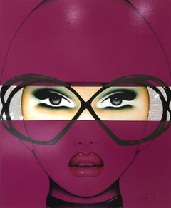 For Your Eyes Only, Anja Van Herle, Acrylic, Pop Art Portrait-Purple, Figurative