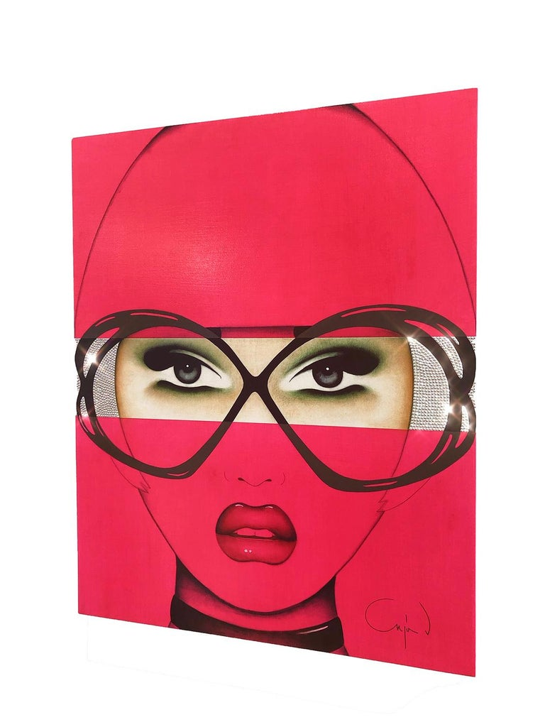 For Your Eyes Only, Anja Van Herle, Female Portrait, Pop Art (Pink, Figurative) - Contemporary Painting by Anja Van Herle