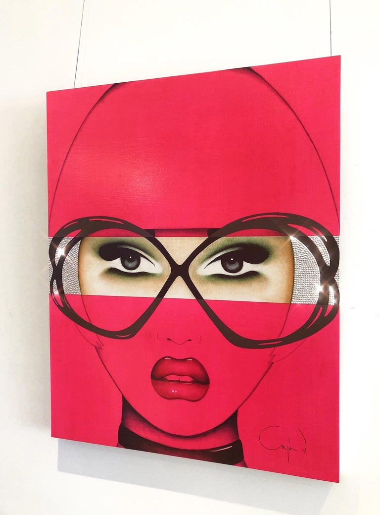For Your Eyes Only, Anja Van Herle, Female Portrait, Pop Art (Pink, Figurative) For Sale 1
