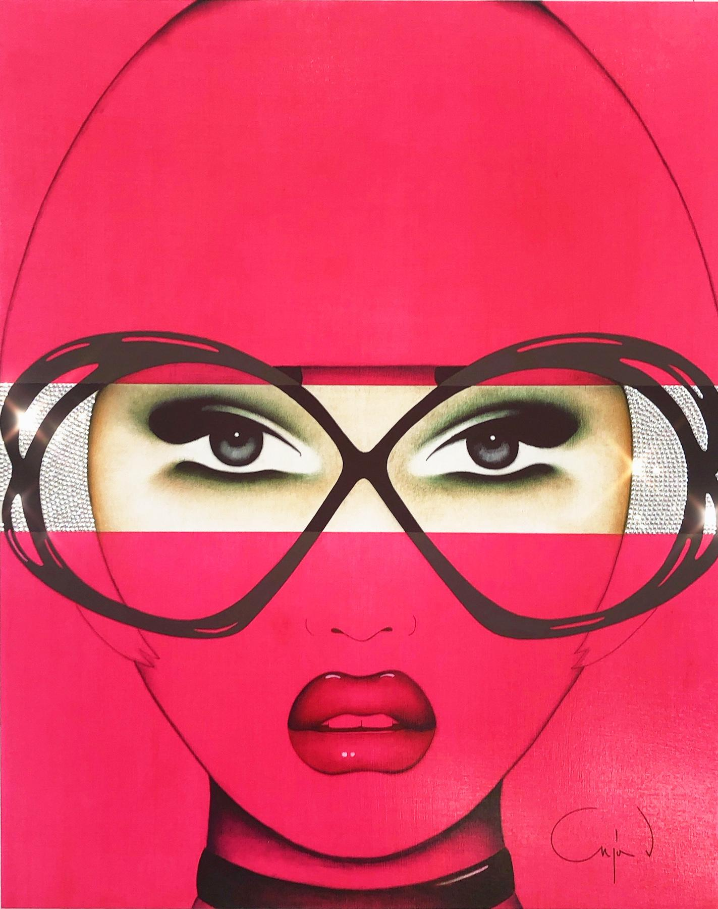 For Your Eyes Only, Anja Van Herle, Female Portrait, Pop Art (Pink, Figurative)