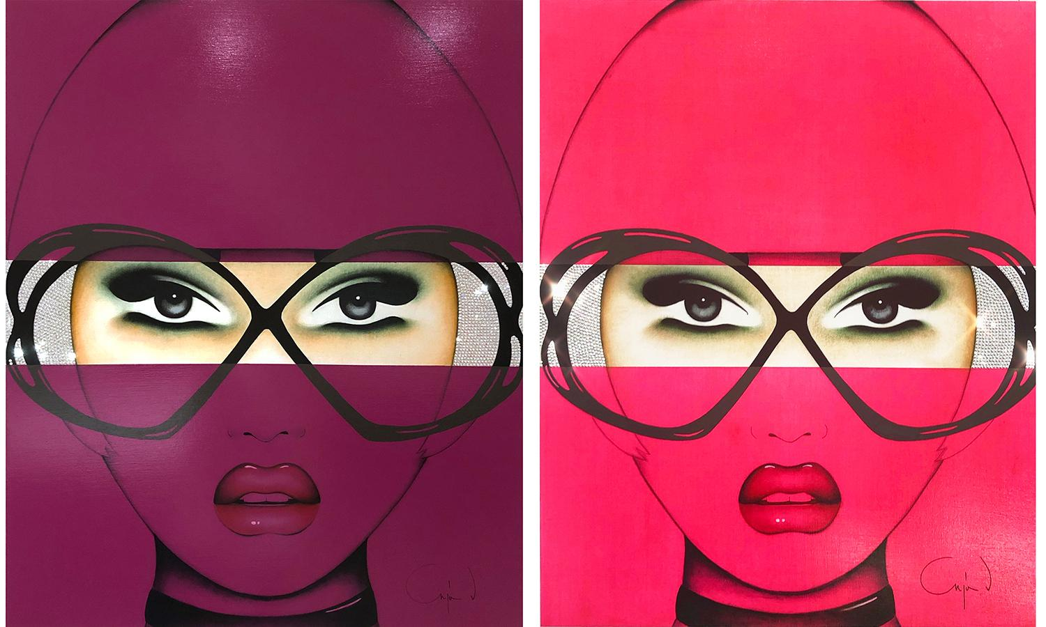For Your Eyes Only, Anja Van Herle, Pink & Purple Diptych, Figurative, Portrait