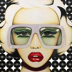 """Set the Record Straight"" - pop art, swarovski crystals, oversized eyewear"