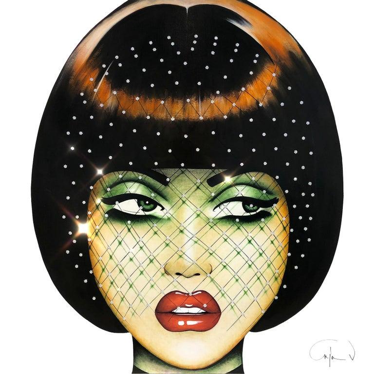 """Silhouette Net"" - pop art, Swarovski crystals, contemporary art, hat net - Mixed Media Art by Anja Van Herle"