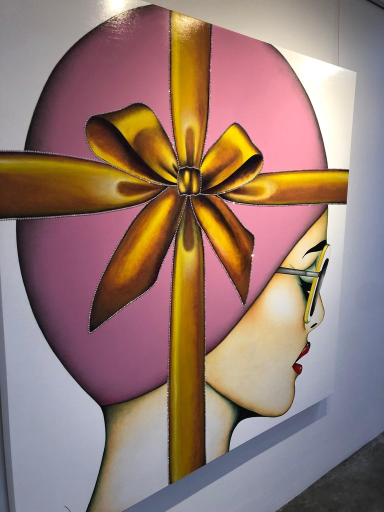 That's a Wrap, Anja Van Herle, (Female Portrait, Pink Bow, Crystals) Figurative 2