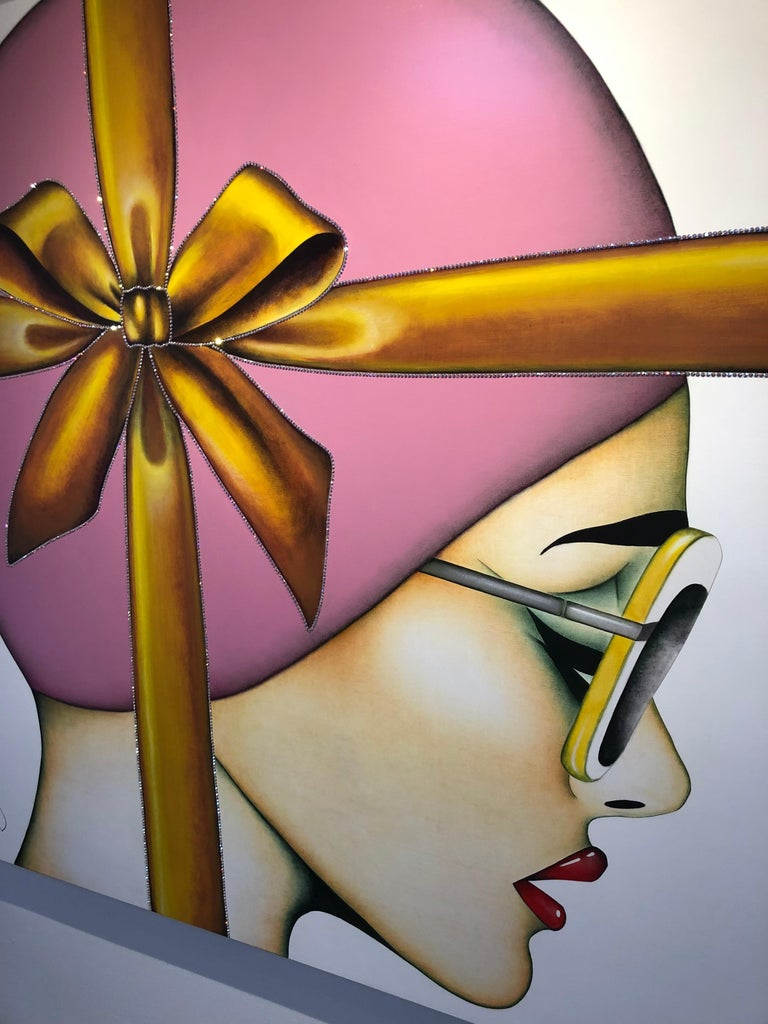 That's a Wrap, Anja Van Herle, (Female Portrait, Pink Bow, Crystals) Figurative 3