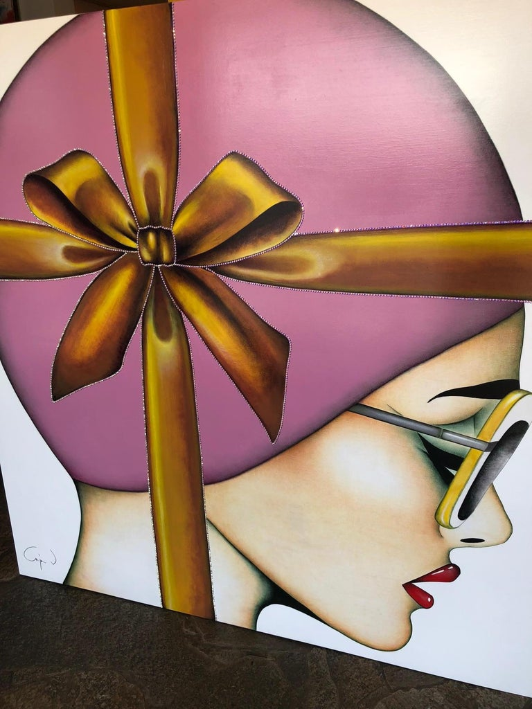 That's a Wrap, Anja Van Herle, (Female Portrait, Pink Bow, Crystals) Figurative - Contemporary Painting by Anja Van Herle