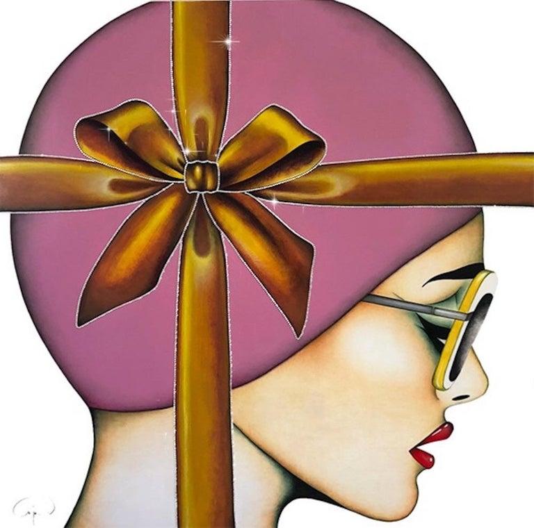 That's a Wrap, Anja Van Herle, (Female Portrait, Pink Bow, Crystals) Figurative - Painting by Anja Van Herle