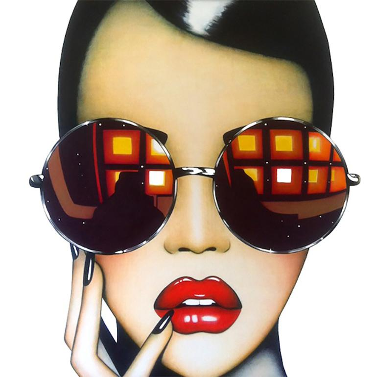 Anja Van Herle Figurative Print - Stay Shady (Limited Edition Print) Pop Art Portrait, Sunglasses, Figurative