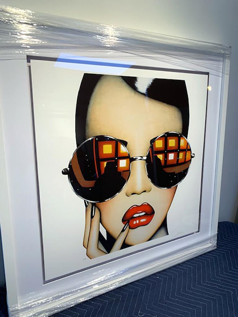 Stay Shady (Limited Edition Print) Pop Art Portrait, Sunglasses, Figurative - Beige Figurative Print by Anja Van Herle