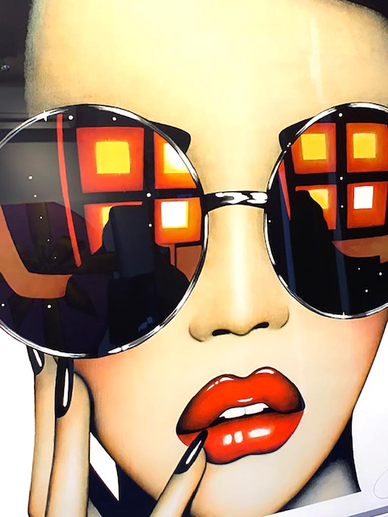 Anja Van Herle Stay Shady Limited Edition Print on Paper, Framed  35 x35 in  Born in Belgium in 1969, Anja Van Herle combines a European sense of high fashion in her artwork with an American sense of wonder. Her childhood years were devoted to