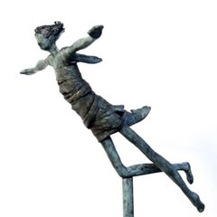 Free - unique bronze woman figure sculpture motion flying on pole