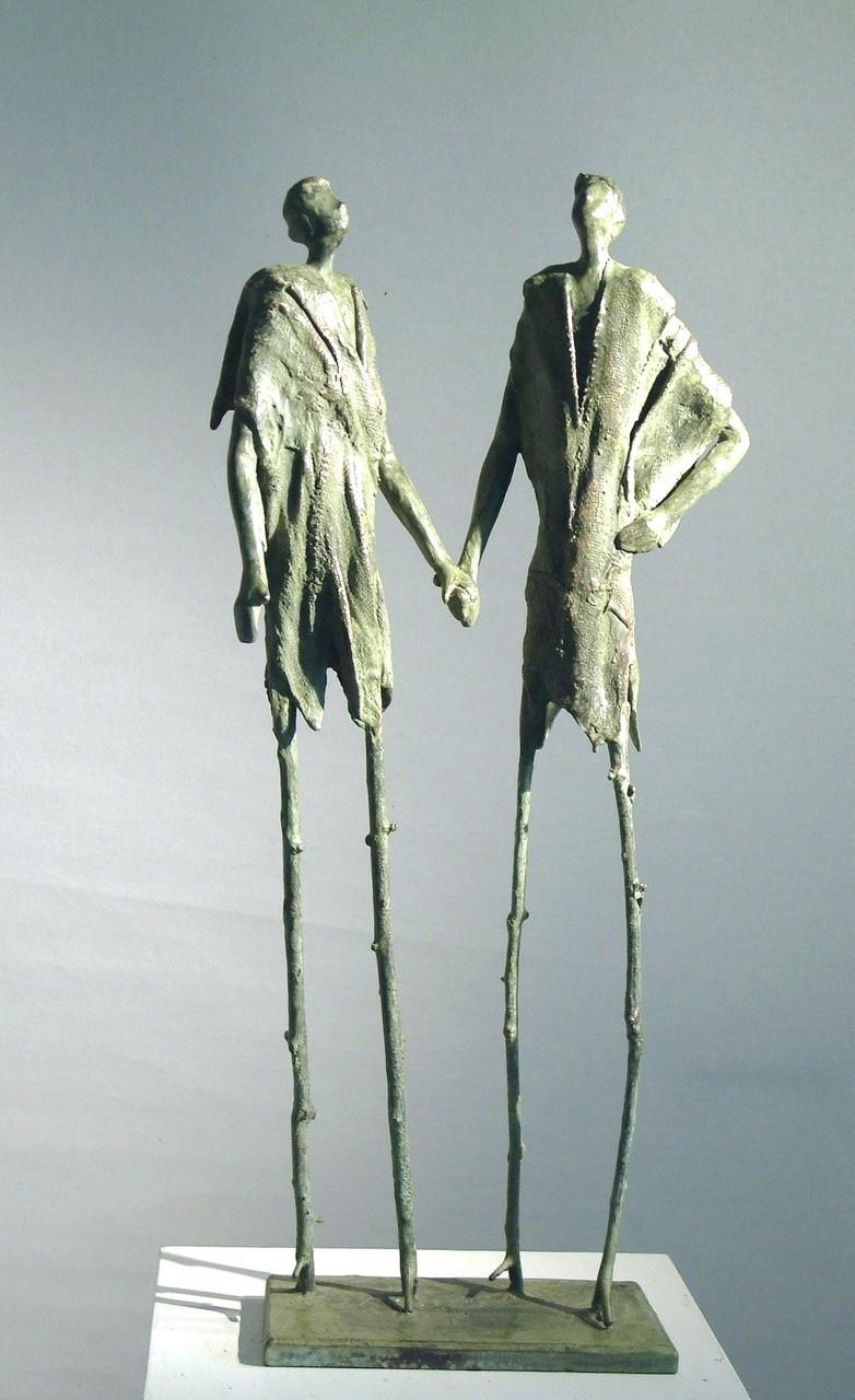 Looking at the Stars - Figurative Bronze Sculpture: A Whimsical Pair