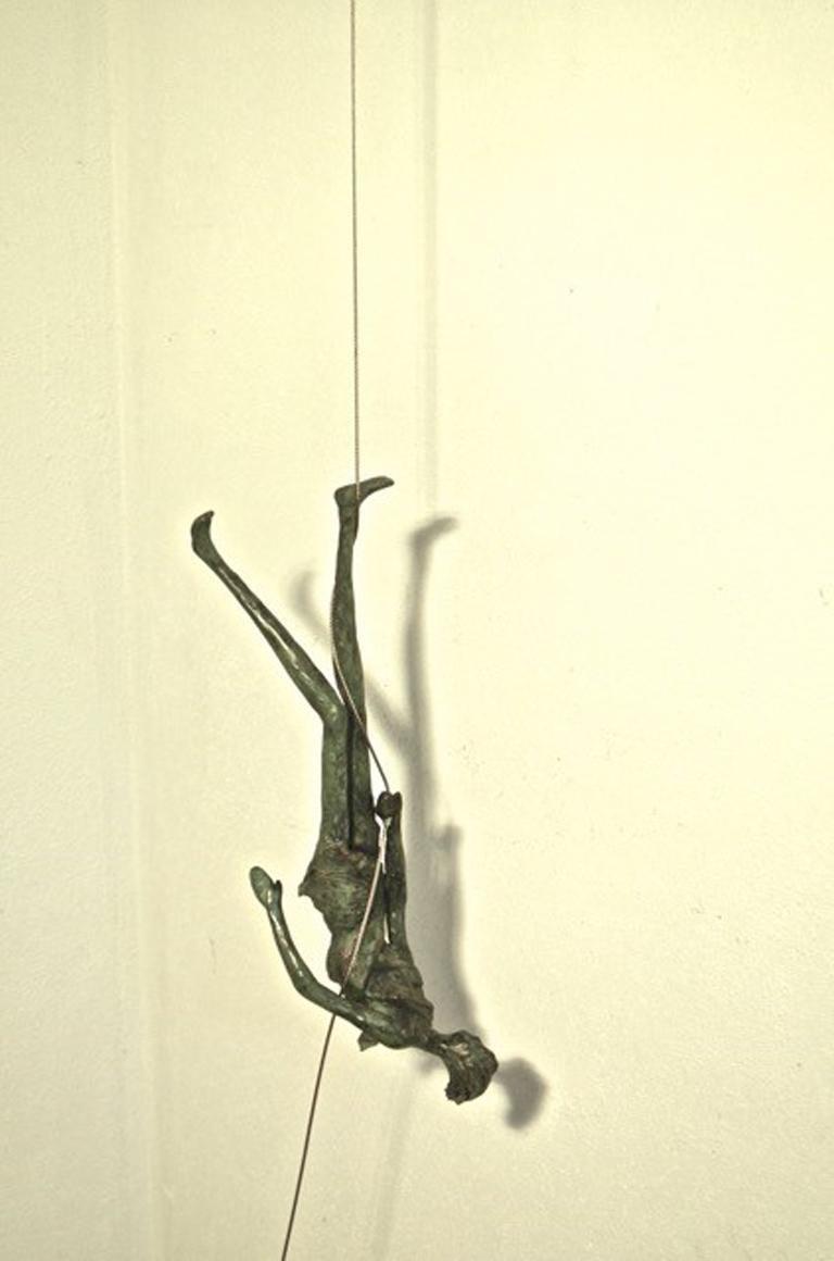 Upside Down n.4087 - unique hanging bronze sculpture female human motion acrobat