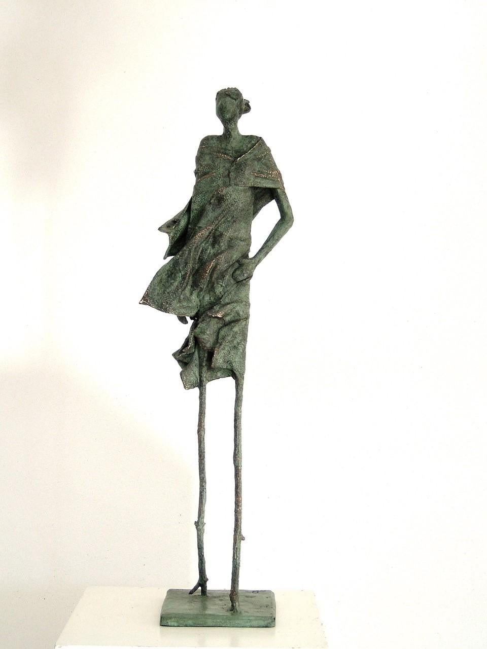 Walking in the Forest - Figurative Sculpture in Bronze: A Whimsical Character