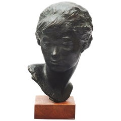 Anker Hoffmann Bronze Bust of Young Girl, Denmark, 1963
