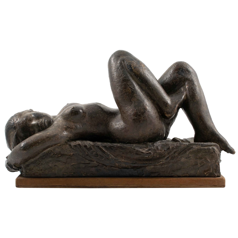 Anker Hoffmann Bronze Sculpture of a Nude Woman Lying Down, Denmark, 1945
