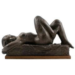 Anker Hoffmann Bronze Sculpture of a Nude Woman Lying Down, Denmark, 1945