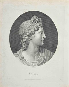 Portrait of God Apollo - Original Etching by Anker Smith - 1810