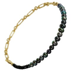 Ankle Bracelet Beaded Black Pearl Spinel Gold Filled Chain J Dauphin