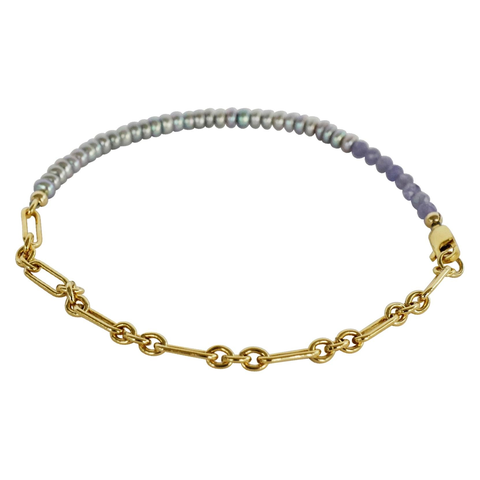 Pearl Tanzanite Ankle Bracelet Beaded Gold Filled Chain J Dauphin