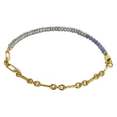 Ankle Bracelet Beaded Pearl Tanzanite Gold Filled Chain J Dauphin