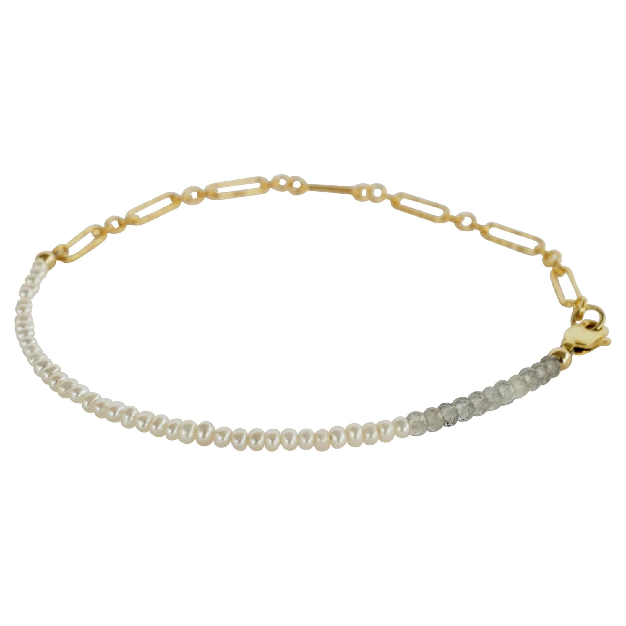 White Pearl Labradorite Ankle Bracelet Beaded Gold Filled Chain J Dauphin