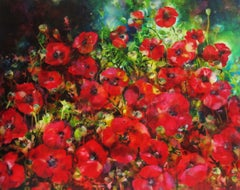 Ann Bridges, Late Afternoon Sunshine (poppies), Floral Art, Affordable Art