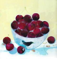Ann Bridges, Stealing Red Cherries, Original Still Life Painting, Bright Art