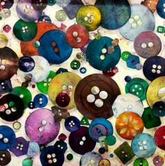 Buttons no. TWO - colourful monoprint, collection of colourful objects print