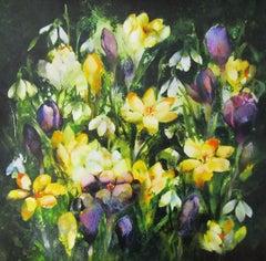 Heralds of Spring - floral snowdrop hyacinth original oil based ink monoprint