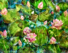 Lotus Pond no.ONE - original monoprint lotus flower colourful green framed print