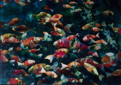 Ocean View - colourful fish underwater, original monoprint framed