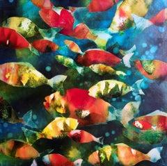 Plenty more fish in the sea - colourful original monoprint oil based ink