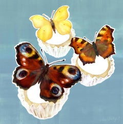 Three Butterfly cakes - original contemporary monoprint, oil based ink
