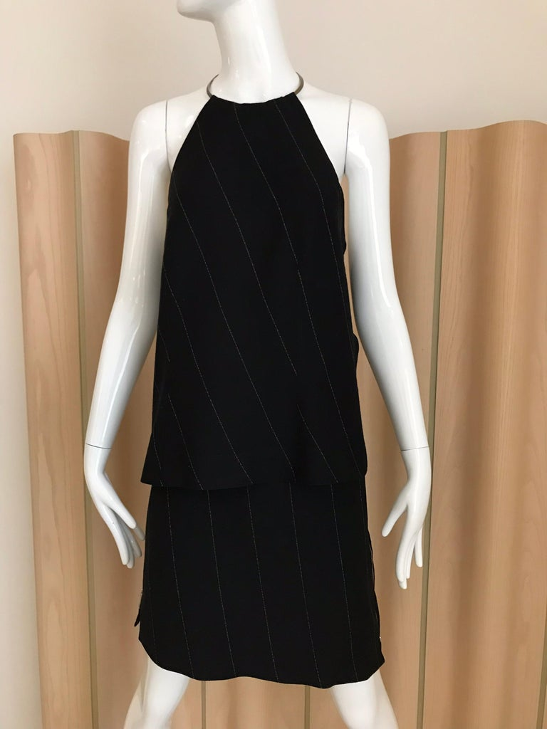 Black Ann Demeluemeester Wool Halter Top and Skirt Set For Sale