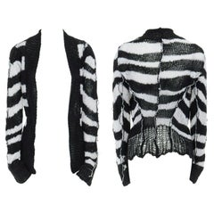 ANN DEMEULEMEESTER 100% linen black white stripe holey knit punk cardigan FR36 S